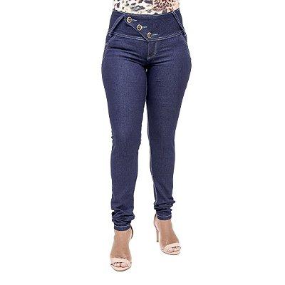 Calça Jeans Feminina Legging Cheris Azul Escura Cós Alto