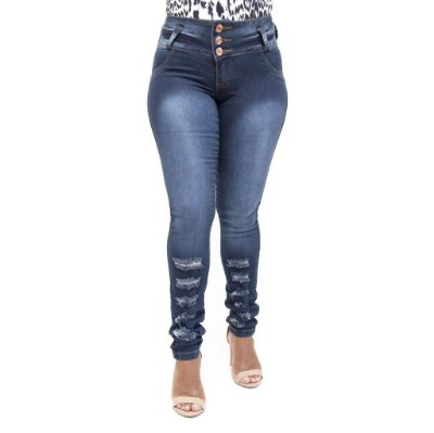 Calça Jeans Feminina Rasgadinha Thomix Azul