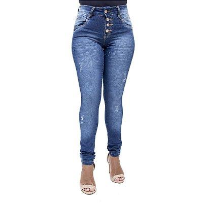 Calça Jeans Feminina Legging Deerf Escura Hot Pants com Cintura Alta