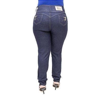 Calça Jeans Legging Feminina Cheris Azul Plus Size Cintura Alta