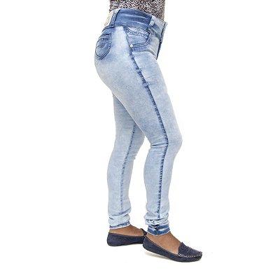 Calça Jeans Feminina Legging Credencial Marmorizada com Elastano