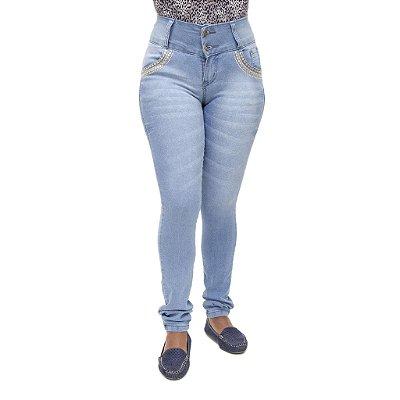 Calça Jeans Feminina Meitrix Azul Manchada com Elástico