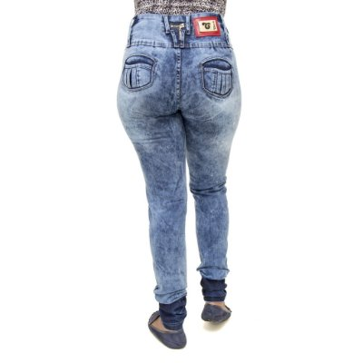 Calça Jeans Feminina Legging Cheris Manchada Levanta Bumbum