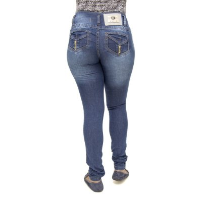 Calça Jeans Feminina Legging Helix Azul Escura Levanta Bumbum