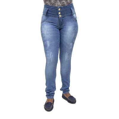 Calça Jeans Feminina Legging Thomix Azul Levanta Bumbum com Elástico