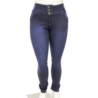Calça Jeans Feminina Legging Thomix Escura Plus Size Cintura Alta com Elástico