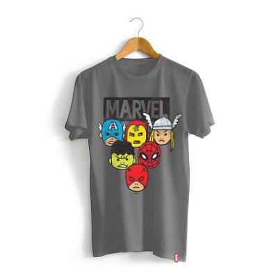 Camiseta Infantil Marvel Rostos Cartoon