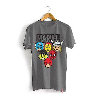 Camiseta Infantil Marvel Rostos Cartoon