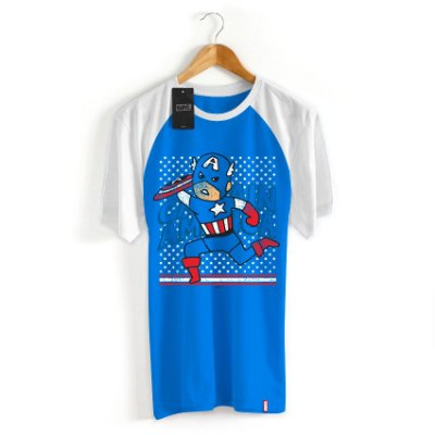 Camiseta Infantil Marvel Capitão América Cartoon