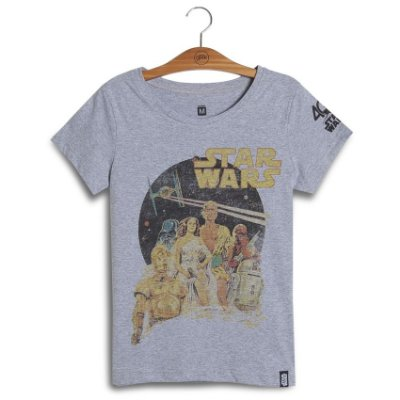 Camiseta Feminina Star Wars Old Poster 40th