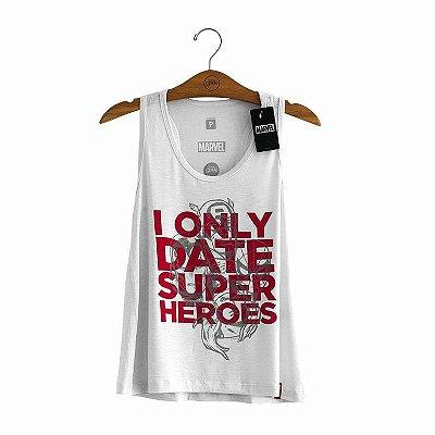 Camiseta Feminina I Only Date Super Heroes Marvel