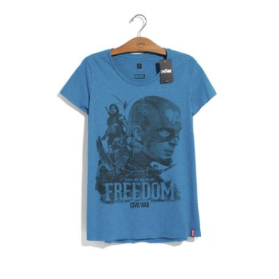 Camiseta Feminina Marvel Team Captain Freedom