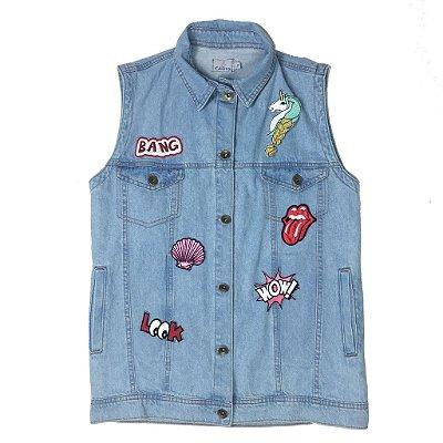 colete jeans com patches | madalena | monte seu colete | coleteria