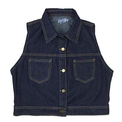 colete jeans curto | travessia escuro | coleteria