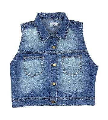 colete jeans curto | travessia claro | coleteria