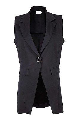 colete blazer alfaiataria | retrato em preto | coleteria