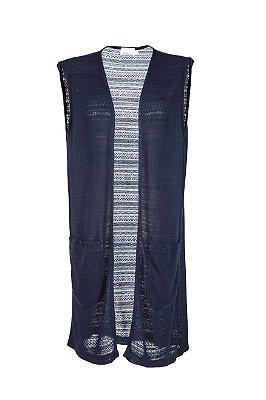 maxi colete com bolso | elis azul | coleteria