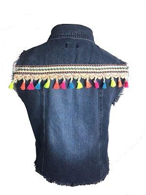 colete jeans com franjas | maria maria étnico | coleteria