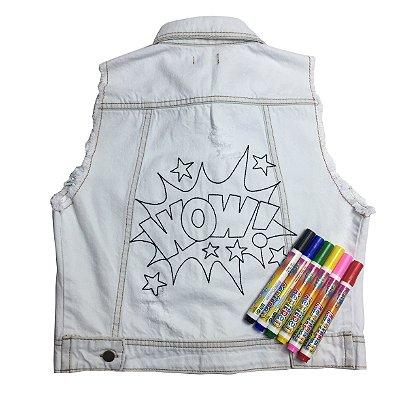 colete jeans de colorir | arrastão para pintar | coleteria