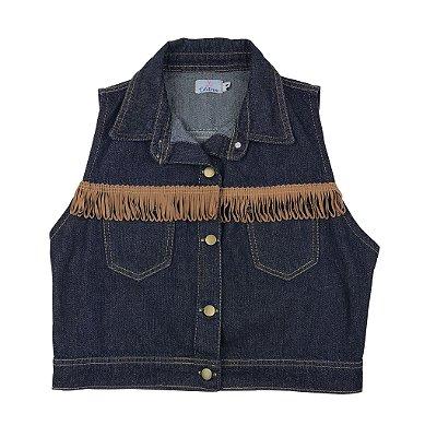 colete jeans curto | travessia franjas | coleteria