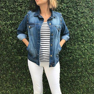 colete e jaqueta jeans básica azul escuro Coleteria