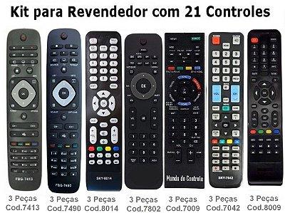 Kit Atacado com 21 com Controles Remotos  para TVs. ( Diversos Modelos)