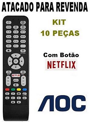 Controle Remoto TV AOC com botão Netflix - Kit com 10 Peças