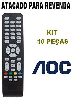 Controle Remoto TV AOC LE43S5977 / LE32S5970 / LE39S5970 - Kit com 10 Peças