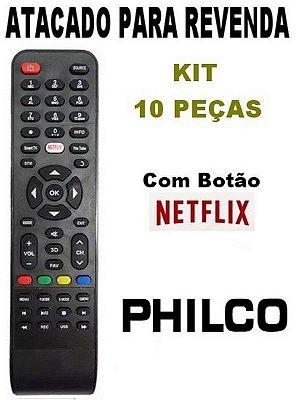 Controle Remoto Philco Smart 3D com Botão Netflix - Kit com 10 Peças