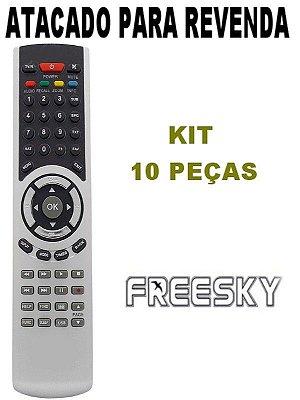 Controle Remoto Receptor Freesky Freeduo + / Freeduo HD / Freeduo HD+ Kit com 10 Peças