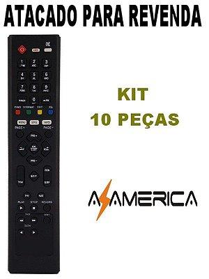 Controle Remoto Receptor Azamérica F90 / S800 / S806 / S807 / S808 / S809 / S810B / S812 / S900 / S912 Kit com 10 Peças