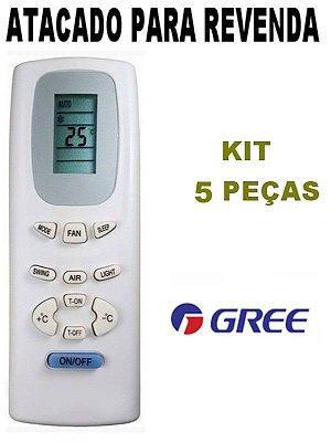 Controle Remoto Ar Condicionado Gree Y512F2 / Y512F / Y512 - Kit 5 Peças