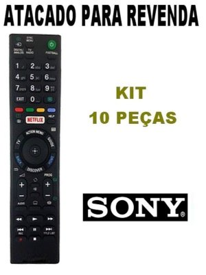 Controle Remoto TV Sony Bravia RMT-TX100D com Netflix / KD-65S8505C / KD-65S8005C / KD-55S8505C / KD-55S8005C - Kit com 10 peças
