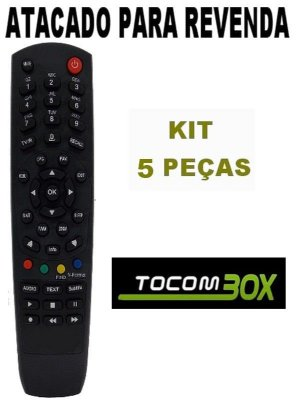 Controle Remoto Receptor Tocombox ENERGY HD / Tocombox Zeus Iptv HD / Tocombox PFC Vip 2 HD / Tocombox PFC HD 2 / Tocombox PFC HD / Tocombox Zeus HD com 5 Peças