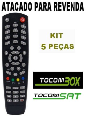 Controle Remoto Receptor Tocombox Life Full HD / Tocomsat Combate S / Tocomsat Duplo Lite HD / Tocomsat Duplo Hd + Kit 5 Peças