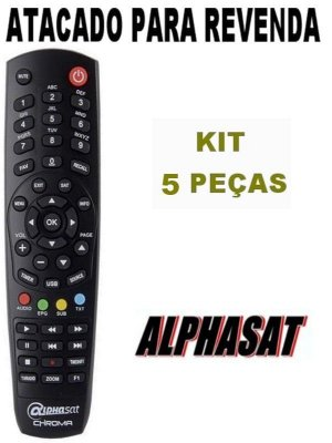 Controle Remoto Receptor Alphasat Chroma / Alphasat GO Kit com 5 Peças