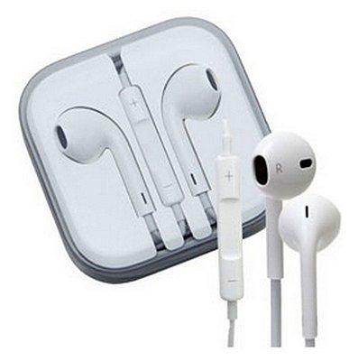 Fone de ouvido em caixinha acrílica personalizado, para Iphone, com controle de volume.