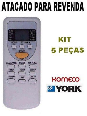 Controle Remoto Ar Condicionado Komeco Rheem York ZH/JT-03  - Kit com 5 Peças