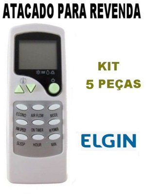 Controle Remoto Ar Condicionado Elgin SHFI8000 / SHFI9000 / SHFI12000 -  Kit 5 Peças