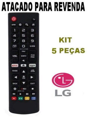 Controle Remoto Tv LG Smart Linha LJ / UJ Akb75095315 netflix Azazon 86SJ9570, 55SJ9500, 55SJ8000, 55UJ7500 - Kit 5 Peças