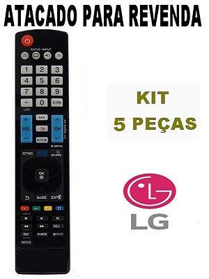 Controle Remoto TV LG Smart 3d Função My Apps AKB73615319 / AKB73615320 / AKB73756527 - Kit 5 Peças