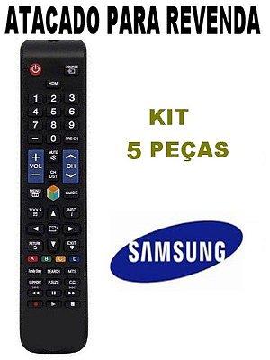 Controle Remoto TV Samsung Smart AA59-00588A / BN98-0367B / 40ES6100 / UN40ES6100 UN40ES6100G / UN40ES6100GXZD - Kit 5 Peças