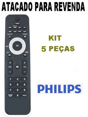 Controle Remoto P/ Tv Philips Lcd / Led 32pfl3404/78 / 32PFL3403 / 42PFL7403 / 42PFL7603 - Kit 5 Peças
