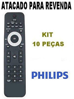 Controle Remoto P/ Tv Philips Lcd / Led 32pfl3404/78 / 32PFL3403 / 42PFL7403 / 42PFL7603 - Kit 10 Peças