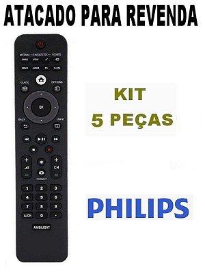 Controle Remoto TV Philips Lcd Led Ambilight - 32PFL3805D/78 - 32PFL5605D/78 - 32PFL6605D/78 Atacado - Kit com 5 Peças
