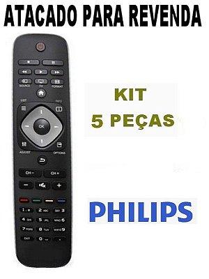 Controle Remoto para Tv Philips Lcd / Led 32PFL3018D/78 - 32PFL3008D/78 / 42PFL3007D/78 - 32PFL5007G/78 - 32PFL4007D/78  Atacado - Kit com 5 Peças