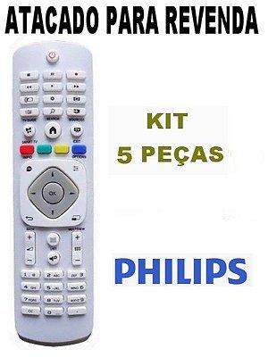 Controle Remoto TV LED Full HD Smart Philips 42PFG5909/78 - 42PFG6519/78 Atacado Kit com 5 Peças