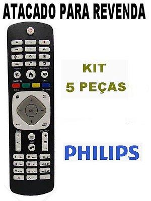 Controle Remoto para TV Philips 32PHG5201/78 42PFG5909/78 / 47PFG5909/78 / 42PFG6519/78 / 47PFG6519/78 Atacado Kit com 5 Peças