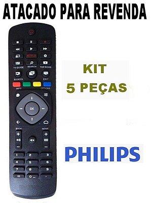 Controle Tv Philips Smart 4K 50PUG6700 Serie 6000 Netflix  Atacado - Kit com 5 Peças