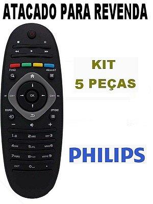 Controle Remoto Philips Tv Lcd / Led 32PFL3406D/78 - 32PFL3606D/78 - 32PFL4606D/78   32PFL5606D/78 - 32PFL7606D/78 - Atacado Kit 5 Peças